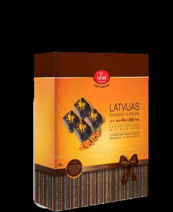 Latvijas šokolādes konfektes ar smiltsērkšķiem