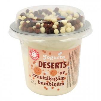 Jogurta deserts Mājas Gardums ar brūnām kraukšķīgām bumbiņām