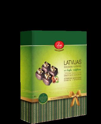 Latvijas šokolādes konfektes ar lazdu riekstiem