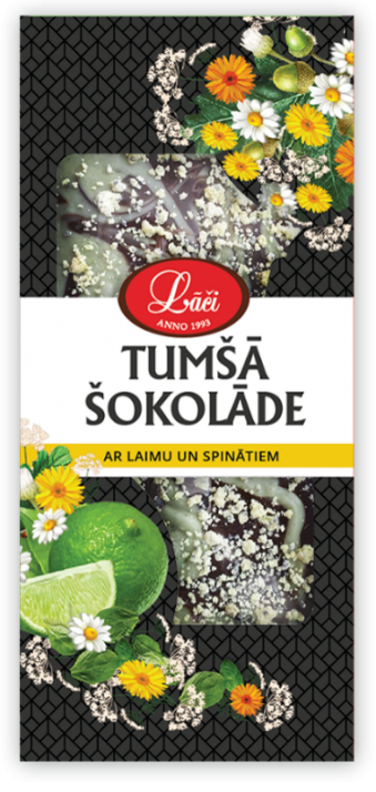 Dark chocolate bar with lime and spinach