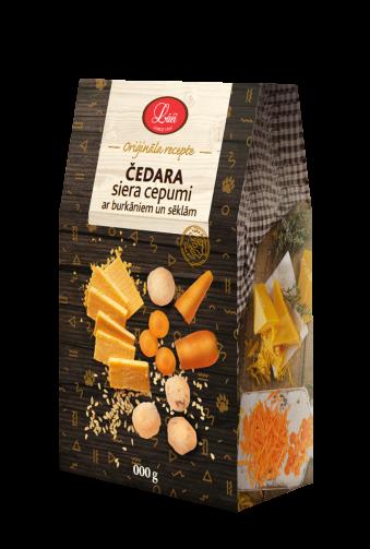 Čedara siera cepumi ar burkāniem un sēklām