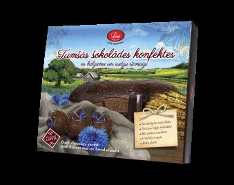 Tumšās šokolādes konfektes ar balzamu un rudzu rīvmaizi