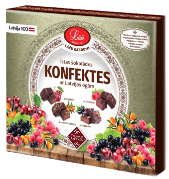 Chocolate sweets with Latvian berries
